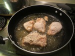 Chicken, breaded and frying